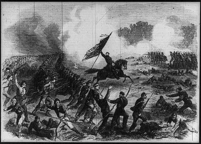The battle of Gettysburg - General Crawford's charge on the rebel lines