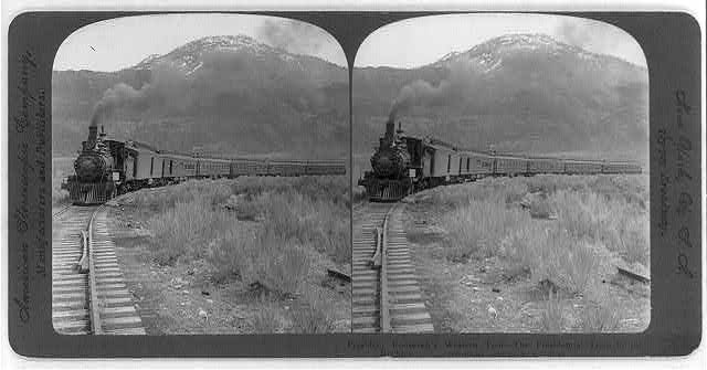 President Roosevelt's western tour - the presidential train in the Rockies