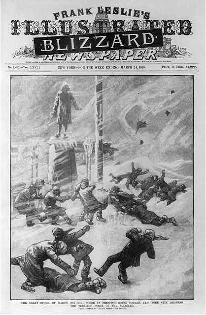 "The great storm of March 12th-13th - scene in Printing-House Square, New York City, showing the terrible force of the blizzard [People being blown over by the wind in blizzard; masthead covered with black headline ""Blizzard""]"
