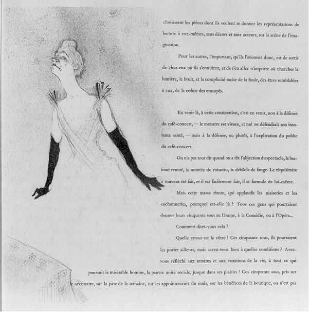 [French cabaret singer Yvette Guilbert wearing gown and long black gloves; illustration and surrounding text]