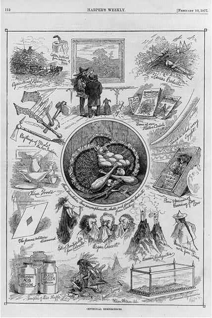 Centennial reminiscences [caricature of vignette scenes from 1876 Phila. Centennial expo., including &quot;Indian carrying&quot; (scalping scene), &quot;bits of frontier life...&quot; (handful of scalps) and &quot;playthings of ... the poor Indian&quot; (knives and tomahawks)]