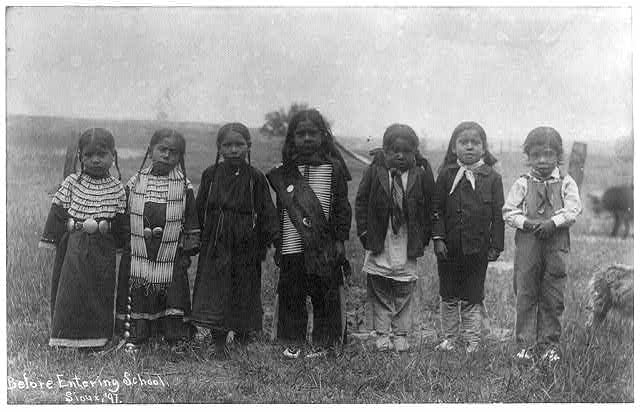 [Hampton Institute, Hampton, Va. - before entering school - seven Indian children of uneducated parents]