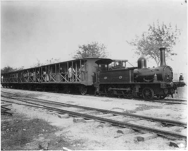 Railway train of the Italian Line between Tunis and the site of ancient Carthage leaving Marsa