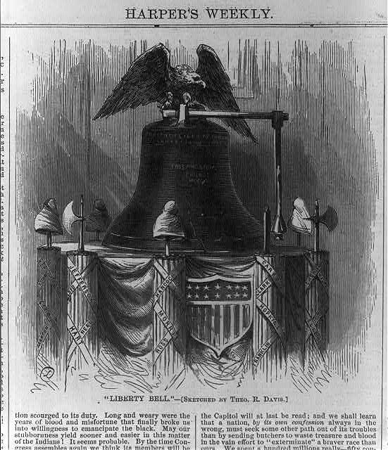 Liberty Bell [resting upon dais ringed with liberty caps and fasces topped by eagle, Independence Hall, Phila.]