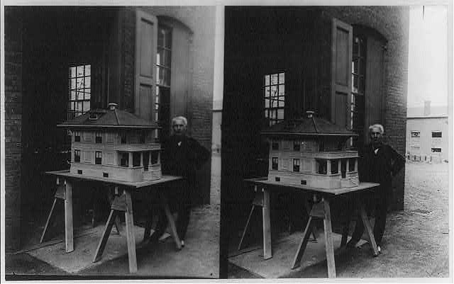 Thomas A. Edison and the model of his concrete house