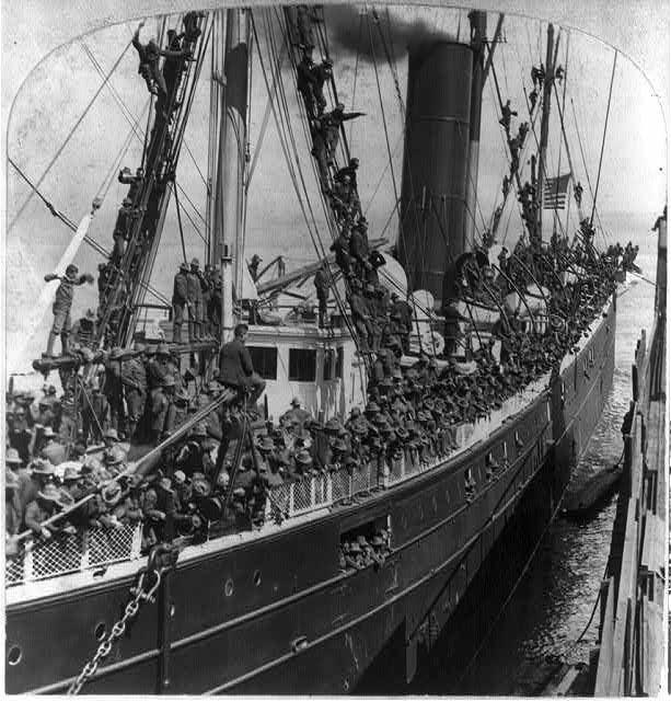 A thousand boys in blue on S.S. RIO-DE-JANEIRO bound for Manila