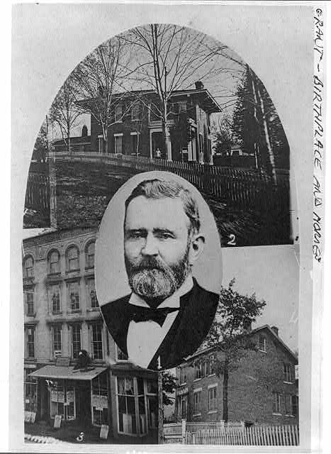 [Composite of 4 photos: 1. Gen'l Grant; 2. New residence; 3. Grant's store; 4. Old residence. Galena, Ill., 1860]