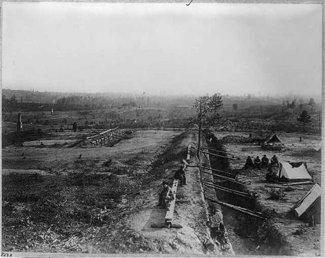 View of Confederate lines just north of Georgia R.R. looking south, [Atlanta, Georgia, 1864]