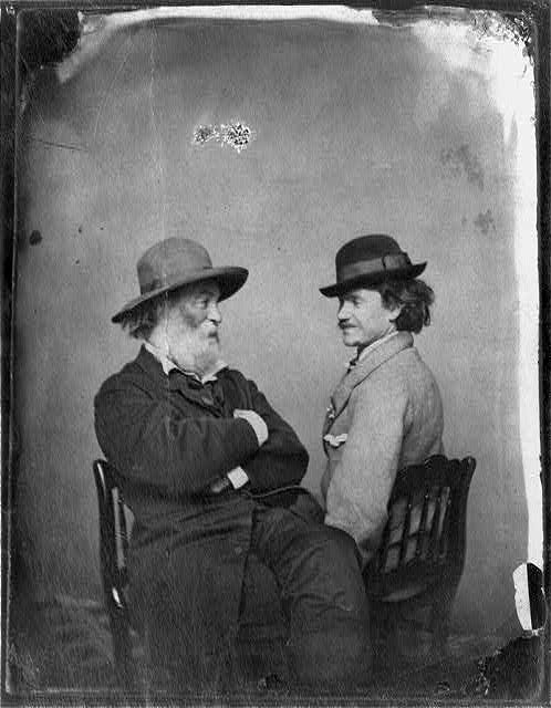 Walt Whitman & his rebel soldier friend Pete Doyle, Washington, D.C., 1865