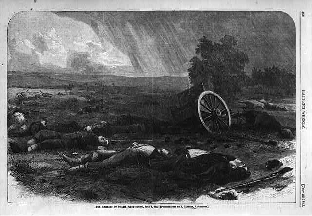 The harvest of death - Gettysburg, July 4, 1863 [Dead soldiers and horses on battlefield]
