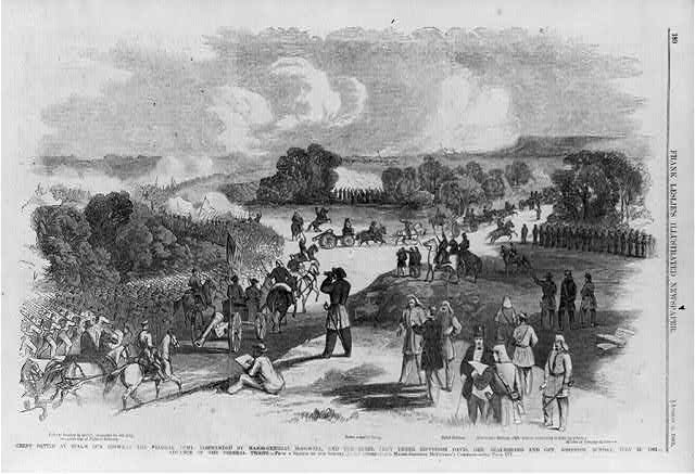 Great battle at Bull's Run between the Federal Army, commanded by Major-General McDowell, and the Rebel army under Jefferson Davis, Gen. Beauregard and Gen. Johnston, Sunday, July 21, 1861 - advance of the Federal Troops [Artist sketching in foregrd.]
