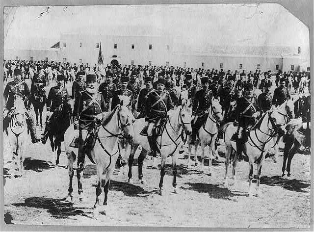 Large group of members of the Turkish Cavalry posed on horseback