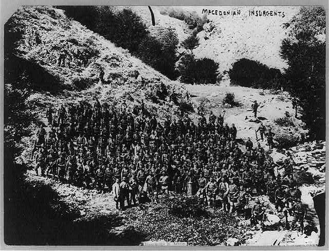 Bird's-eye view of large group of Macedonian insurgents posed