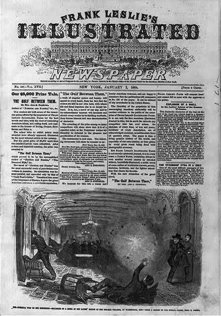 [Front page of Frank Leslie's Illustrated Newspaper, 1864 Jan. 2, with illustration: The Guerilla War on the Mississippi - Explosion of a Shell in the Ladies' Saloon of the Steamer WELCOME, at Waterproof, Miss.]