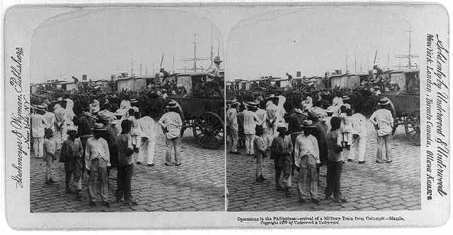Operations in the Philippines - arrival of a military train from Calumpit - Manila