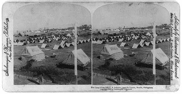The camp of the 12th U.S. Infantry, near the Luneta, Manila, Philippines