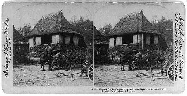 Filipino homes at Tina Jeros - scene of hard fighting during advance on Malabon, Philippine Islands