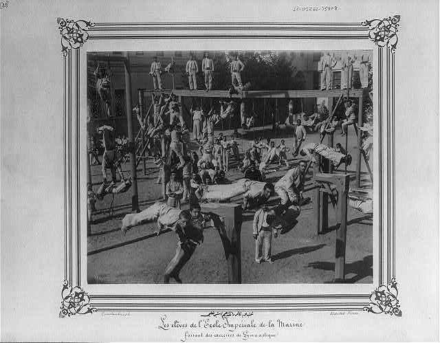 [The students of the Imperial Naval Academy doing gymnastic exercises]
