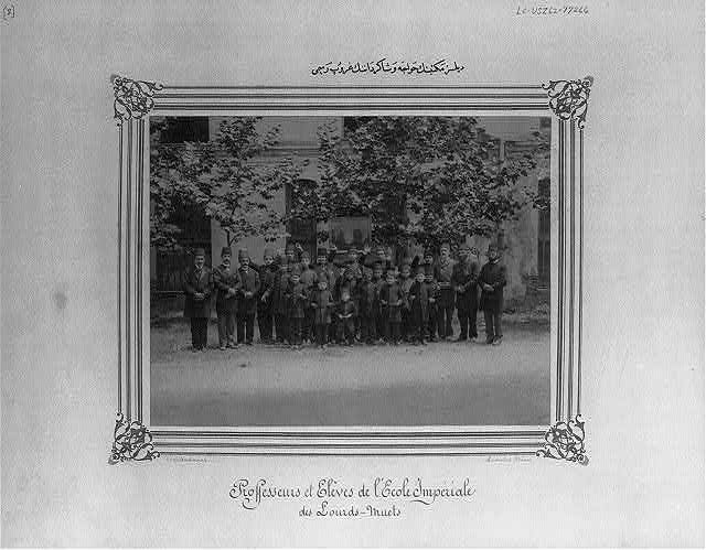 [Group photograph of the students and the teachers of the school for the deaf]