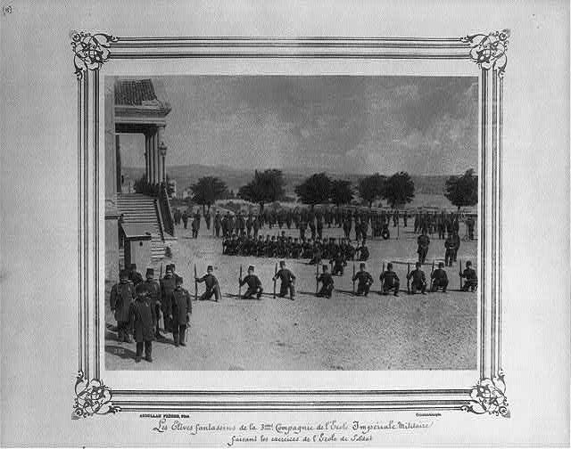 [The infantry students of the third company at the Imperial Military Academy doing the drills of the Soldier's School]