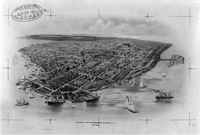 Bird's-eye view of Key West Florida, 1887