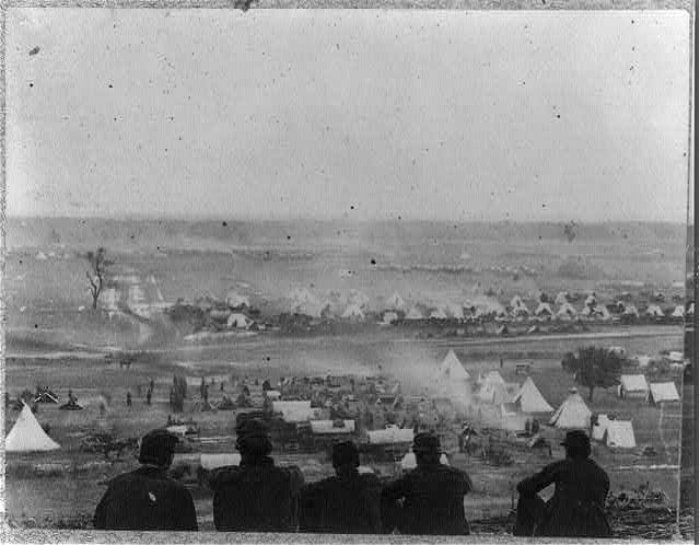 Panoramic view of encampment of Army of Potomac at Cumberland Landing on Pamunkey River, May 1862