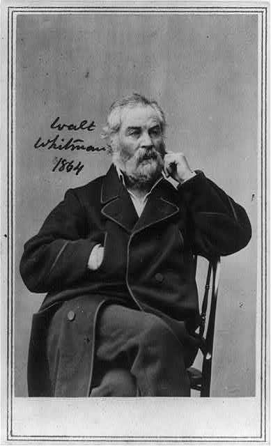 [Walt Whitman, three-quarter length portrait, seated, facing slightly right, wearing heavy coat with right hand in pocket, left hand at cheek]