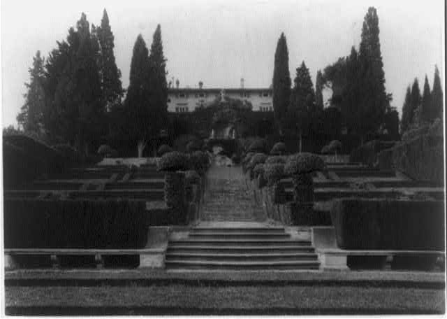 Villa I Tatti, estate of art historian Bernard Berenson, Ponte a Mensola, Italy: Garden; large bldg. in backgrd.