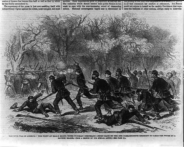 The Civil War in America: the fight at Ball's Bluff, upper Potomac - desperate effort made by the 15th Massachusetts Regiment to clear the woods by a bayonet charge