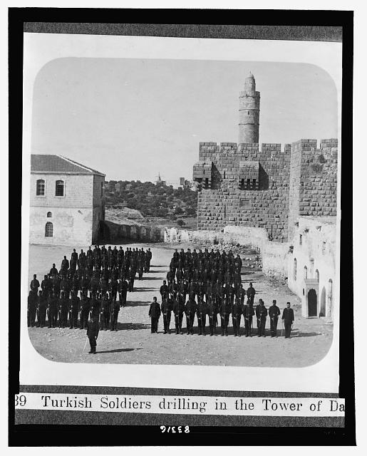 Turkish soldiers drilling in the Tower of David