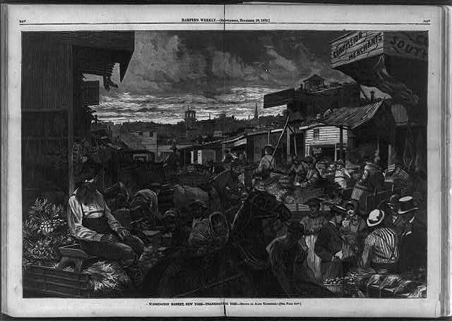 Washington Market, New York - Thanksgiving time [Crowded outdoor food market scene]