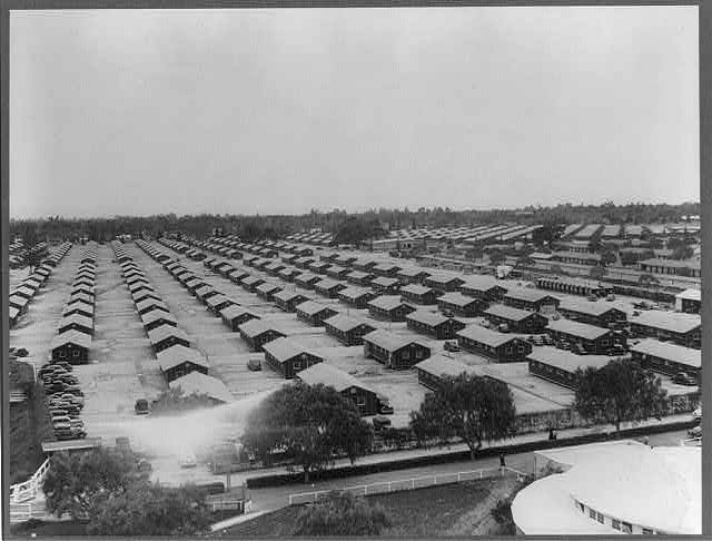 Santa Anita reception center, Arcadia, Calif., April 1942 - a general view of quarters for evacuees of Japanese ancestry who will be transferred later to War Relocation Authority centers for the duration of the war