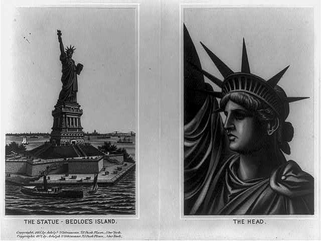 [The Statue of Liberty. 2 pictures: 1. The statue - Bedloe's Island; 2. The head]