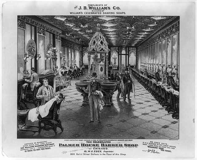 The celebrated Palmer House barber shop at Chicago. Mr. W.S. Eden, proprietor