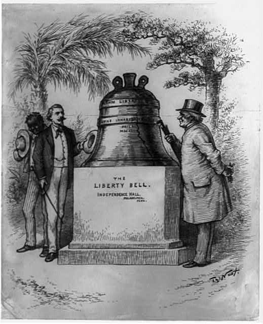 [The liberty bell back in its birth-place again now that it has proclaimed liberty throughout the land unto all the inhabitants thereof, it is perfectly at home]