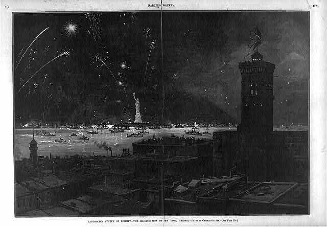 Bartholdi's Statue of Liberty - the illumination of New York Harbor [Bird's-eye view of the statue, harbor and fireworks]