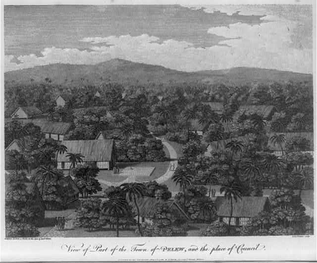 View of part of the town of Pelew, and the place of Council