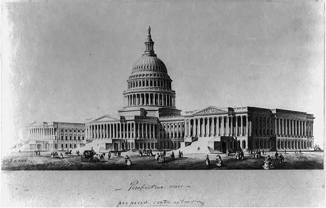 [Perspective view of Capitol exterior with proposed east front center extension]