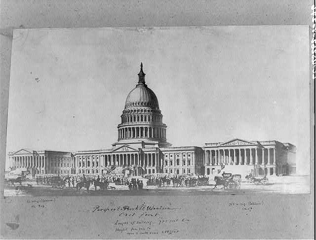 [Perspective elevation of Capitol exterior, east front]