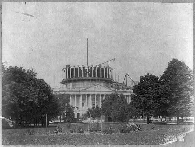 East front from grounds. Progressive views of dome, no. iii. Columns of peristyle in position
