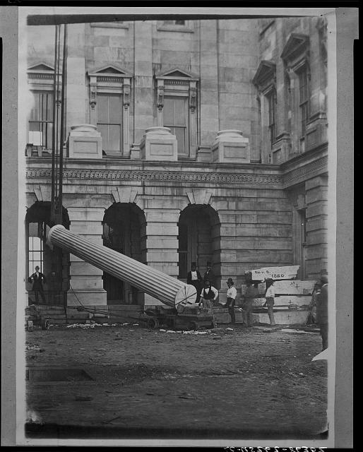 "The ""Lincoln column,"" first monolith raised, Nov. 1860, Presidential election, being S. column of connecting corridor"