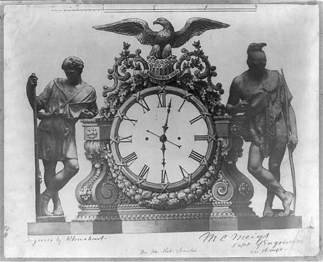 [Clock for the House of Representatives chamber flanked by American Indian and backwoodsman figures]