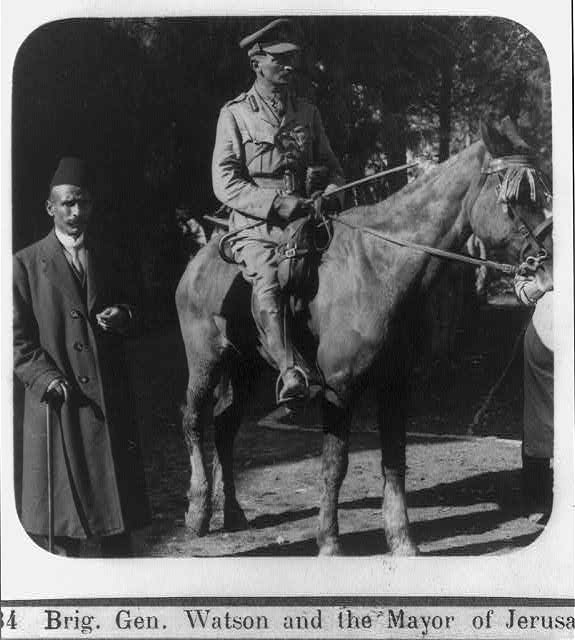 Brig. Gen. Watson [on horseback] and the Mayor of Jerusalem [before the surrender of Jerusalem, Dec. 1917]