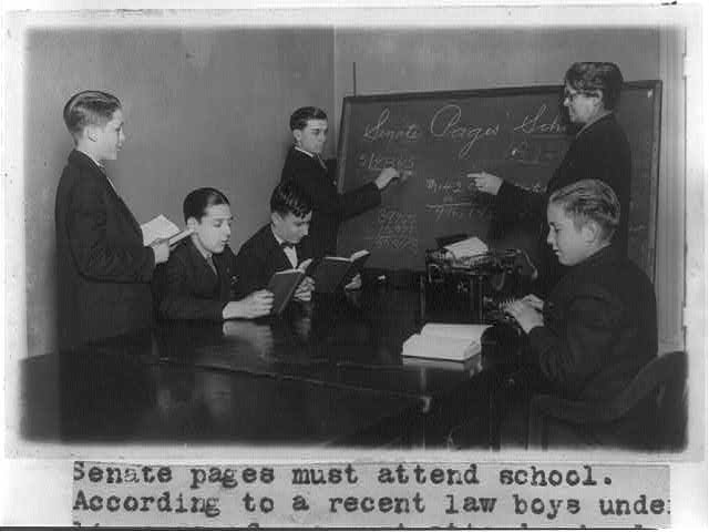 Senate pages must attend school - according to a recent law boys under 14 years of age must attend ... Mrs. D. Jones is shown instructing