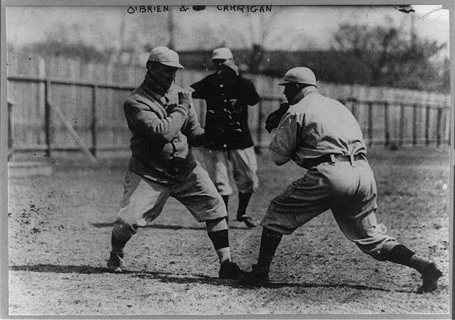 "[Thomas ""Buck"" O'Brien vs. Bill Carrigan, Boston AL (baseball)]"