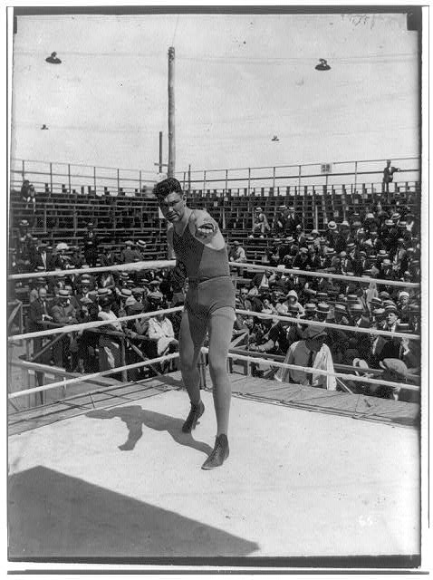[Boyle's Thirty Acres, Jersey City, N.J.: Jack Dempsey posing in ring in boxing position]
