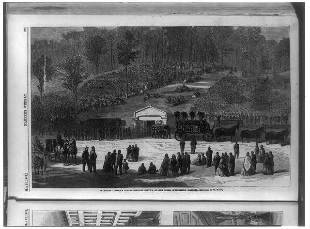 President Lincoln's funeral - burial service at Oak Ridge, Springfield, Illinois
