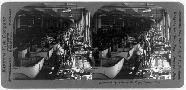 Making automobile tops, Detroit, Mich.