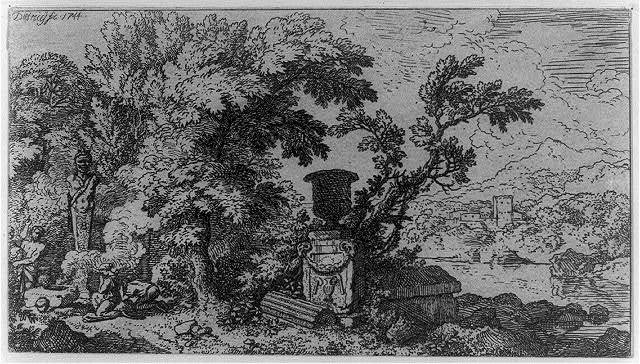 [Landscape, with urn in center, three figures to left making offering]