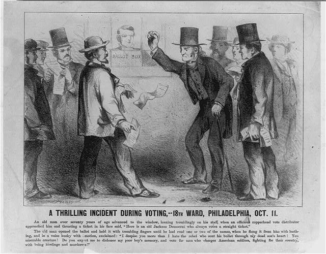 A thrilling incident during voting,--18th Ward, Philadelphia, Oct. 11